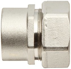 """Polyconn 1"""" NPT Female Duratec Plated Brass Plumbing Pipe Fitting Adapter"""