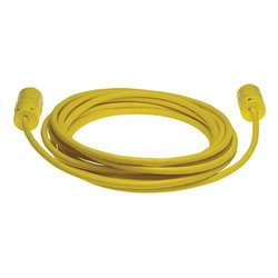 Woodhead 1433A123 Super-Safeway Cordset, Industrial Duty, Straight Blade, 2 Poles, 3 Wires, NEMA 5-20 Configuration, 12-Gauge SOOW Cord, Rubber, Yellow, 20A Current, 125V Voltage, 25ft Cord Length