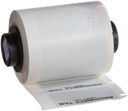 """Brady PTL-35-428-PROP TLS 2200 and TLS PC Link 1.63"""" Width x 0.75"""" Height, B-428 Metallized Polyester, Matte Finish Black on Silver Label, Legend """"Property Tag"""" (250 per Roll)"""