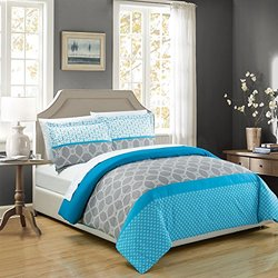 Chic Home 3 Piece Kourtney Geometric Modern Design Printed Duvet Cover Set with 2 Shams, King, Blue
