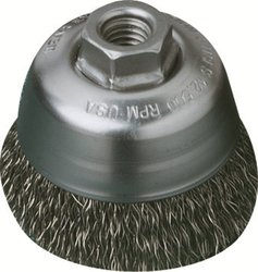 United Abrasives/SAIT 03512 3-1/2-Inch by .020-Inch by 5/8-11 Knot Stainless Steel Brush, 1-Pack