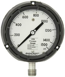 "Ashcroft Type 1259 Solid Front Thermoplastic Case Process Pressure Gauge, Liquid Filled, Stainless Steel Bourdon Tube and Socket, 4-1/2"" Dial Size, 1/2"" NPT Lower Connection, 0/1500 psi Pressure Range"