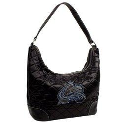 Little Earth Women's NHL Colorado Avalanche Sport Noir Hobo Handbag- Black