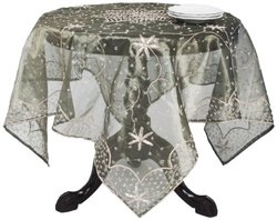 "Saro Lifestyle BD16 Beaded Square Tablecloth - Olive - 40"" x 40"""