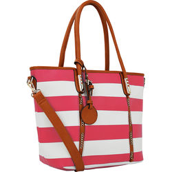 MKF Collection Women's Marina Striped Tote Handbag - Fuchsia - Size: Large