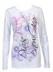 Divas SnowGear Women's Rhinestone Floral Shirt - White - Size: 4XL
