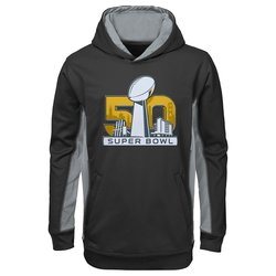 NFL Super Bowl 50 Boy's 8-20 Debossed Hoodie - Black - Size: X-Large