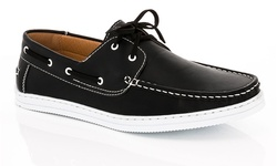 Franco Vanucci Men's Boat Shoes Boat-15 Black 12M