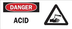 "Brady 70208 Premium Fiberglass Chemical & Hazardous Materials Sign, 7"" X 17"", Legend ""Acid (with Picto)"""