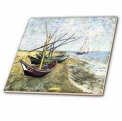 "3dRose Van Gogh Painting Fishing Boats On The Beach Ceramic Tile - 6"""