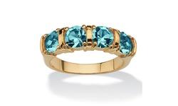Palm Beach Women's 18k Gold Plated Bar-Set Ring - Topaz - Size: 6