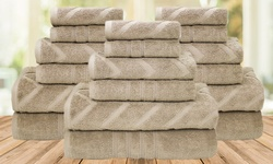 18Pc 100% Finest Combed Cotton Solid/Jacquard Chevron Towel Sets - Taupe