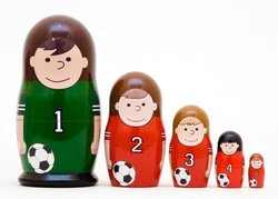 Soccer Counting 5-piece Russian Wood Nesting Doll