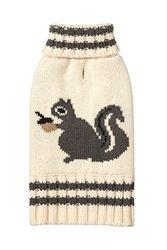 "Fab Dog Americana Classics Knit Dog Sweater, Cream Squirrel, 14"""