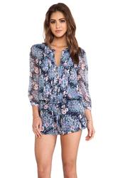 Joie Amara B Silk Floral Print Romper - Navy - Size: XS