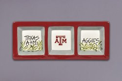 Magnolia Lane 3 Secti on Texas A&M Aggies Serveware Tray