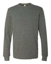 Bella 3500 Men's Thermal Long Sleeve Tee - Deep Heather - Size: Small