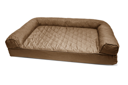 Furhaven Quilted Sofa Dog Bed Pet Bed - Warm Brown - Size: Medium