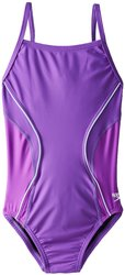 Speedo Girl's Revolve Splice Energy Back Swimsuit - Purple - Size: 6/22