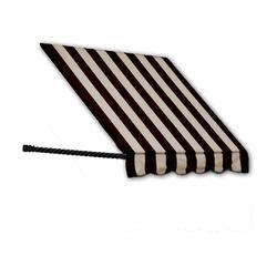 "Awntech 5 Ft Santa Fe Rope Arm Window Awning - Black/Tan - Size: 44"" x 24"""