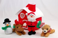 "10"" Plush Christmas House with Santa Claus, Snowman, Red Nose Reindeer and Christmas Brown Bear"