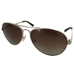 Guess Women's Sunglasses: GU7228 Aviator Fashion - Gold/Brown Frame