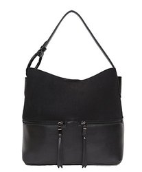 Alice Suede Hobo Handbag - Black