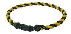 "Phiten Men's 18"" Forest Green/Gold Tornado Necklace"