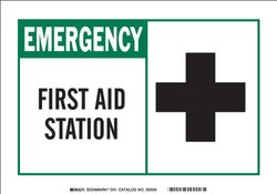 """Brady """"First Aid Station (with Picto)"""" Fiberglass Alert Sign - 10""""X14"""""""