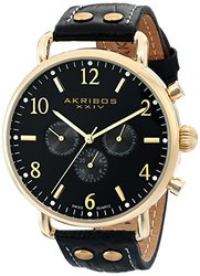 Akribos Men's Genuine Leather Strap Watch: Akgp752ygb Black Band-black Dial