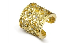 Rubique Jewelry Resizable Filigree Ring w/ Swarovski Elements- Yellow Gold