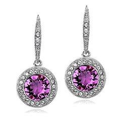 Purple   Clear Swarovski Elements Halo Dangle Leverback Earrings