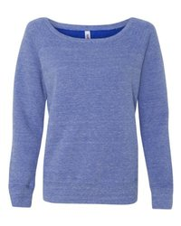 Bella 7501 Women's Sponge Fleece Wide Neck Sweatshirt - Blue Triblend, 2XL