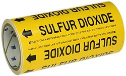 "Brady 41579 Roll Form Pipe Markers, B-946, 8"" X 30', Black On Yellow Pressure Sensitive Vinyl, Legend ""Sulfur Dioxide"""