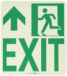 "NMC 50R-6SN-L 7550 Glo Brite Nyc Wall Mont Exit Rigid Glow Sign with Forward/Left Side Graphic, 8"" Length x 9"" Height, Green on Pale goldenrod"