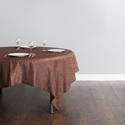 LinenTablecloth Square Crinkle Taffeta Overlay - Chocolate - Size: 85""