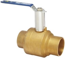 "Milwaukee Valve BA-485B-xH Series Brass Ball Valve with Extension Stem, Two Piece, Inline, Lever, 1-1/4"" Solder End"