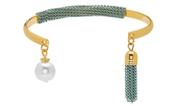 Women's 12K Gold Faux Pearl Tassel Cuff - Blue - Size: 12mm
