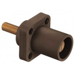 """Hubbell Wiring Systems HBLMRSBN TPE Single Pole Panel Mount Male Receptacle, 1/2""""-13 UNC Thread Stud, 400 Amp, 4-3/32"""" Length, for Through Mounting Hole, Brown"""