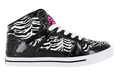 Gotta Flurt HIp Hop VI 3/4 Top Sneaker, Black/White/Hot Pink, Size 6.5