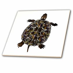 3dRose ct_35818_3 Cute Turtle-Ceramic Tile, 8-Inch