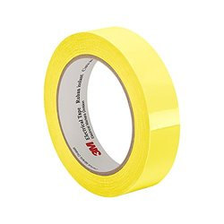 """TapeCase 1350F-1Y 1.25"""" x 72yd Yellow Polyester Film 3M Flame-Retardant Tape 1350F-1, 266 degrees F Performance Temperature, 0.0025"""" Thickness, 72 yd Length, 1.25"""" Width"""