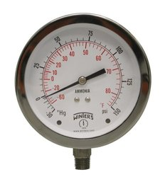 "Winters PAM Series Steel Ammonia Pressure Gauge, 30"" Hg Vacuum-0-150 psi/f,  3-1/2"" Dial Display, +/- 1.5% Accuracy, 1/4"" NPT Bottom Mount"