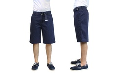 Galaxy By Harvic Men's 100% Cotton Flat-Front Shorts - Navy - Size: 34