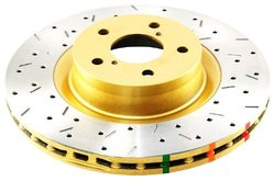 DBA Series Premium Cross-Drilled and Rear Solid Disc Brake Rotor - Gold