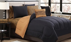 Home D Solid 9 Pc Reversible Bed In A Bag Set - Black/Gold - Size: King