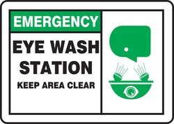 """Accuform Plastic Safety Sign """"EMERGENCY EYE WASH STATION KEEP AREA CLEAR"""""""