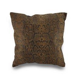 "Zeckos Snakeskin Print Patchwork Throw Pillow - Black/Brown - Size: 17"""