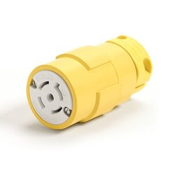 Woodhead 2981 Super-Safeway Connector, Industrial Duty, Locking Blade, 3 Phase, 4 Poles, 5 Wires, NEMA L21-30 Configuration, Rubber, Yellow, 30A Current, 208V Voltage
