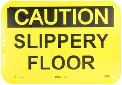 """Master Lock """"Caution Slippery Floor"""" Safety Sign Board - Black/Yellow"""